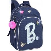 Mochila Bolsa Feminina Escolar Barbie Azul Juvenil Notebook Impermeável Patches Paetê Costas Grande Luxcel
