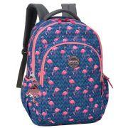 Mochila Bolsa Notebook 15.6 Feminina Escolar Flamingo Trabalho Juvenil Adulto Moderna Chaveiro Paetê Impermeável Up4you Luxcel Lançamento Nova