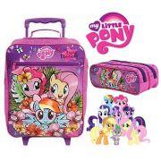 kit Mochila de Rodinha My Little Pony DMW + Estojo 2 Divisórias Meninas Escolas