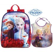Mochila Escolar Infantil Frozen 2 Média Elsa Anna Olaf Menina + Avental Atividades Com Bolso Interno Resistente Lançamento Dermiwil