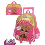 Kit Conjunto Mochila Escolar Lol Surprise Infantil Menina Dourada Rodinhas Resistente Original Luxcel
