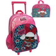 Kit Conjunto Mochila Escolar Lol Surpresa Pink Menina Rodinhas Resistente Original Luxcel
