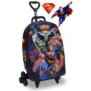 Mochila Escolar Menino Carrinho Rodinha Infantil Liga Da Justiça Superman Maxtoy