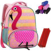 Mochila Escolar Seanite Infantil Original Estojo Resistente Flamingo Cacto Lhama