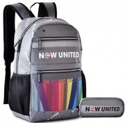 Mochila Feminina Masculina Escolar Do Now United Kit Conjunto Juvenil  Notebook 15' Estojo Duplo Impermeável Costa Clio