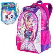 Mochila Infantil Escolar Menina Barbie Costas Brilho 3D Resistente Costas Grande Original Sestine