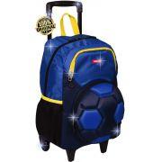 Mochila Infantil Futebol Bola Escolar Grande Rodinha Carrinho Azul Impermeável Menino Resistente Lançamento Sestini