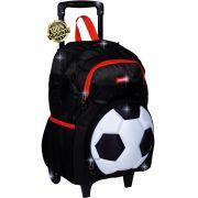 Mochila Infantil Futebol Bola Escolar Grande Rodinha Carrinho Preta Impermeável Menino Resistente Lançamento Sestini