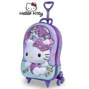 Mochila Escolar Rodinha Carrinho Hello Kitty Maxtoy Menina