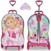 Mochila Infantil Escolar Carrinho 3 Rodinhas Rosa Meg Princess Menina EVA E Poliéster