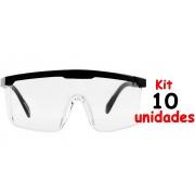 Oculos de Proteção Epi Individual Segurança Rj Incolor Kit 10 Unidades Lentes Filtram 99% Da Radiação Uva E Uvb