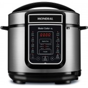 Panela De Pressão Elétrica 5 Litros Display Digital 110V 14 Funções Programáveis Aço Inox Timer 900w Aquece Cuba Removível Master Cooker Mondial
