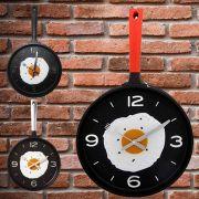 Relógio De Parede 3D Cozinha Frigideira  Ovo Frito