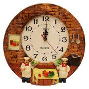 Relógio de Parede Decorativo Redondo Ponteiros  Cozinheiros Marrom Pilha