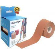 Rolo Fita Kinésio 5 x 500 Cm Tape Bandagem Elástica Funcional Adesiva Bege Musculação Hipoalergênica Evita Lesões Resistente A Água Muscle Fix Multilaser
