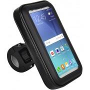 Suporte De Guidão Para Smartphone Porta Celular Até 5,5 Polegadas Bicicletas Motos Case Impermeável 22 A 35mm Ajustável Rotação 360° Preto Atrio