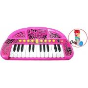 Teclado Musical Show Instrumento Eletrônico De Brinquedo Grava Reproduz Sons Piano Rosa Teclado Incentiva Coordenação Motora Bolhas De Sabão Toyng