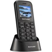 Telefone Celular Com Base Carregadora Dual Chip Bluetooth USB Tela 1,8 Rádio Fm Botão SOS Teclas Grandes Câmera Digital Lanterna Uso Fácil Multilaser