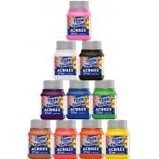 Tinta De Tecido Kit 10 Cores Unidades Para Artesanato 37ml Fosca Pintura Textil Solúvel Em Água Misciveis Entre Si Acrilex