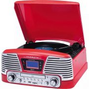 Toca Discos Harmony Raveo Grava Bluetooth cd Rádio Fm Usb Vermelho