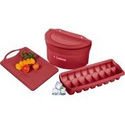 Utensílios De Cozinha Jogo Kit 3 Peças Plástico Saleiro Forma De Gelo Tábua De Corte Carne Legumes Sanremo Vermelho LInha Casar