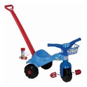 Velocípede Motoquinha Velotrol Triciclo de Empurrar Azul Infantil Menino Cestinha