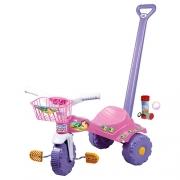 Velocípede Motoquinha Velotrol Triciclo de Empurrar Rosa Infantil Menina Cestinha