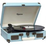 Vitrola Toca Discos Vinil Bluetooth Usb Auxiliar Reproduz E Grava Em Mp3 Bivolt Sonetto Chrome Azul Claro Retrô 10 Watts