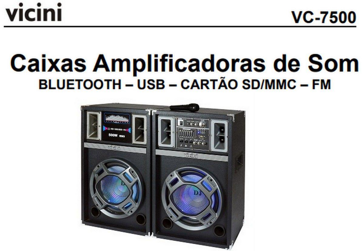 Caixa de Som Dupla Ativa Passiva Acústica 500w Rms Vicini com USB Bluetooth Microfone Mp3 VC 7500