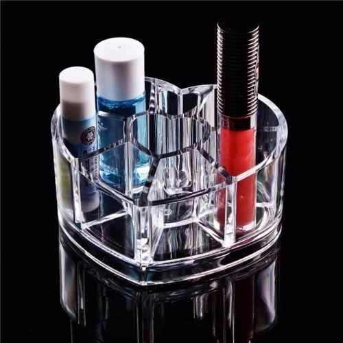 Kit Conjunto Acrílico De 2 Porta Maquiagem Caixa Treco Retangular + Coração