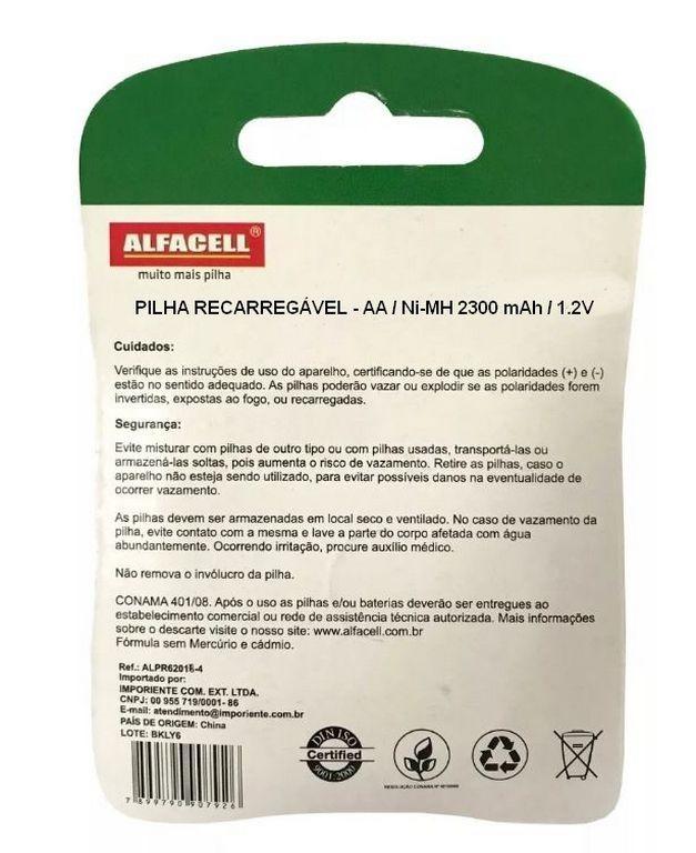 4 Pilhas Recarregáveis Alfacell NI-MH 1.2V AA 2300MAH