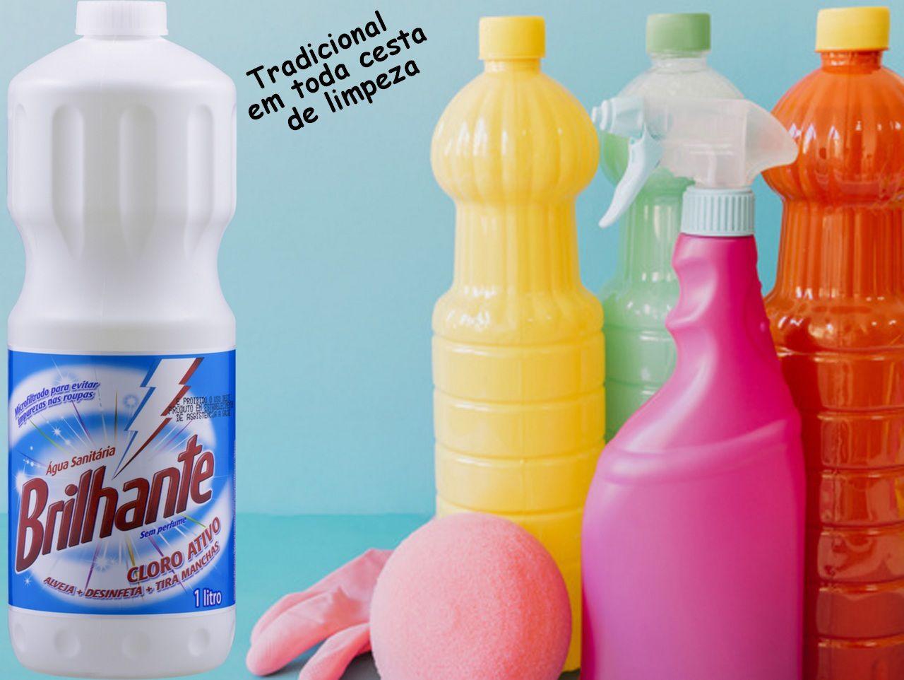 Água Sanitária Cloro Ativo 1 Litro Brilhante Alvejante Desinfetante Bactericida Tira Manchas Roupas Sem Perfume Higiene Limpeza Multiuso