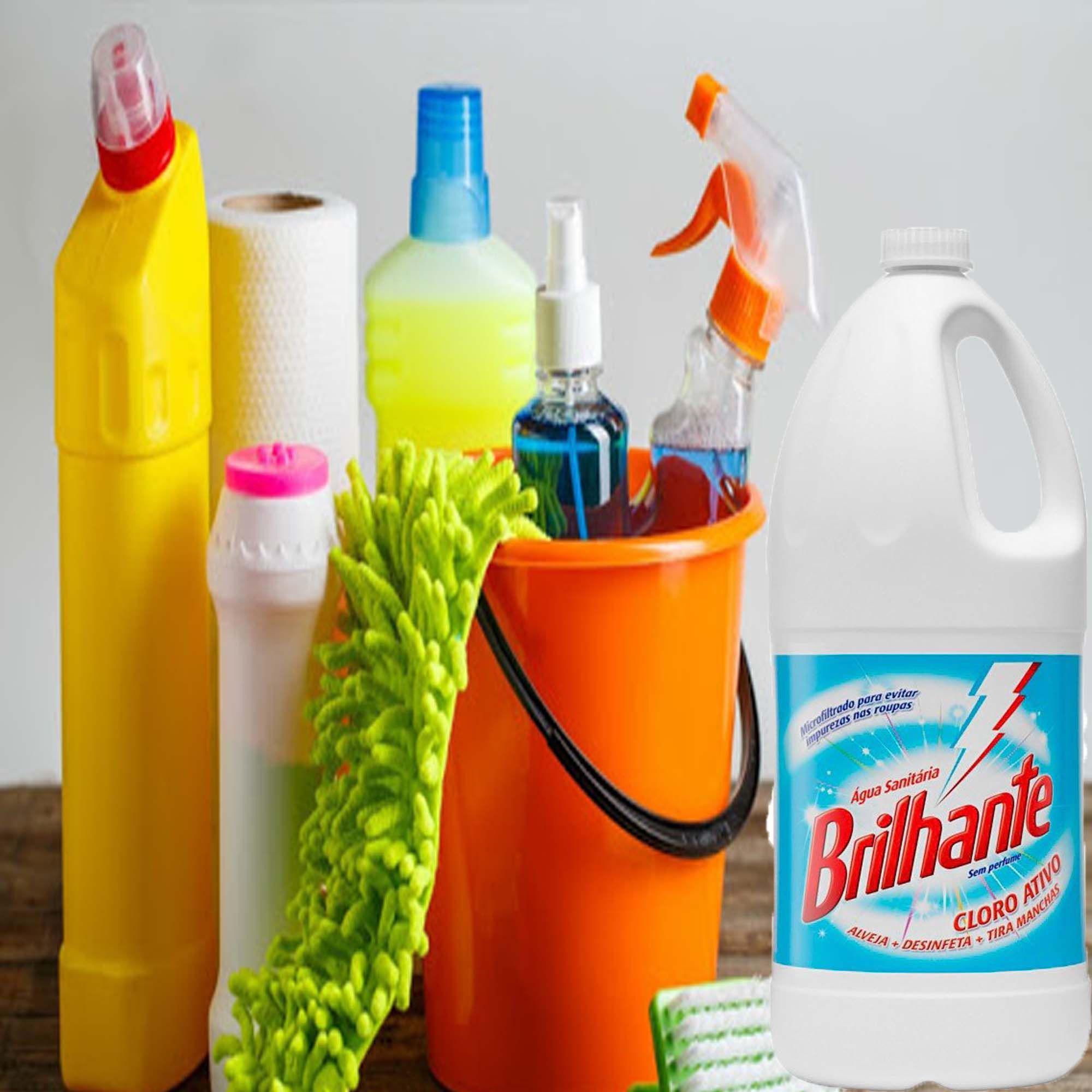 Água Sanitária Cloro Ativo 2 Litros  Alvejante Desinfetante Bactericida Tira Manchas Sem Perfume Multiuso Higienização Limpeza Com Alça Brilhante