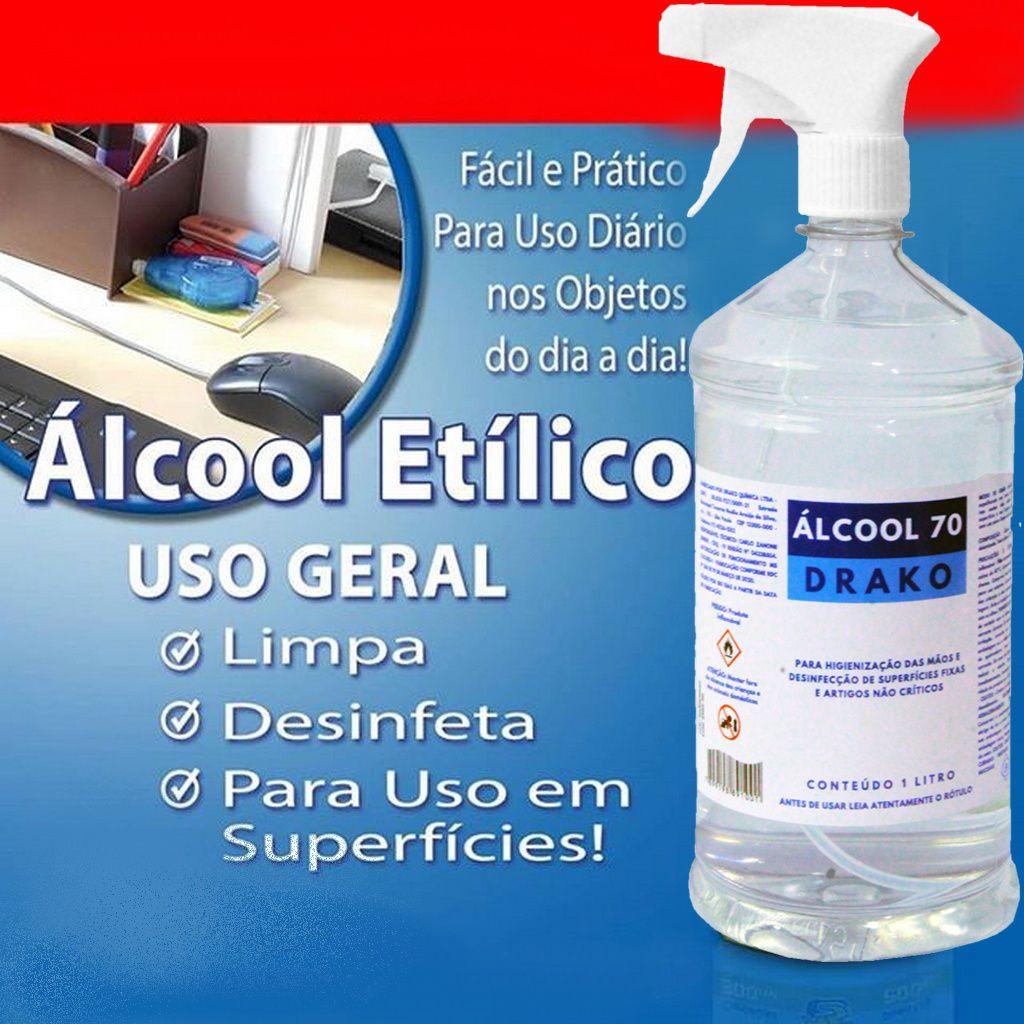 Alcool 70 Liquido Com Borrifador Spray Pulverizador Etílico Manual 1 Litro Higienizador Desinfetante Superfícies Limpeza Casa Carro Antisséptico Drako