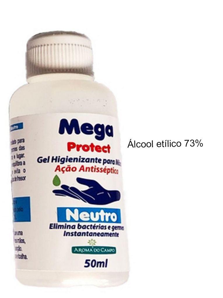Álcool Em Gel 70% Bactericida Antisséptico Com Hidratante Para As Mãos Kit com 3 Unidades 50 Ml Aroma Do Campo