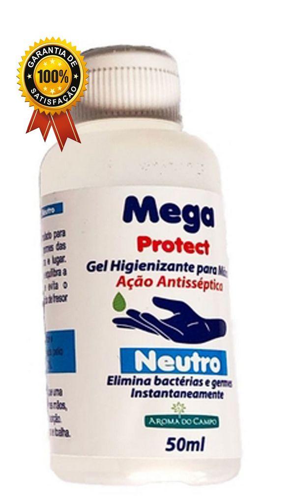 Álcool em Gel 70% Bactericida Antisséptico com Hidratante Para As Mãos Kit com 6 unidades 50 ml Aroma do Campo