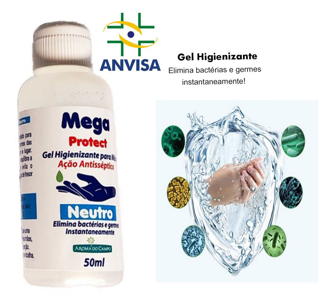 Álcool em Gel 70% Bactericida Antisséptico com Hidratante Para as Mãos Unidade 50 Ml