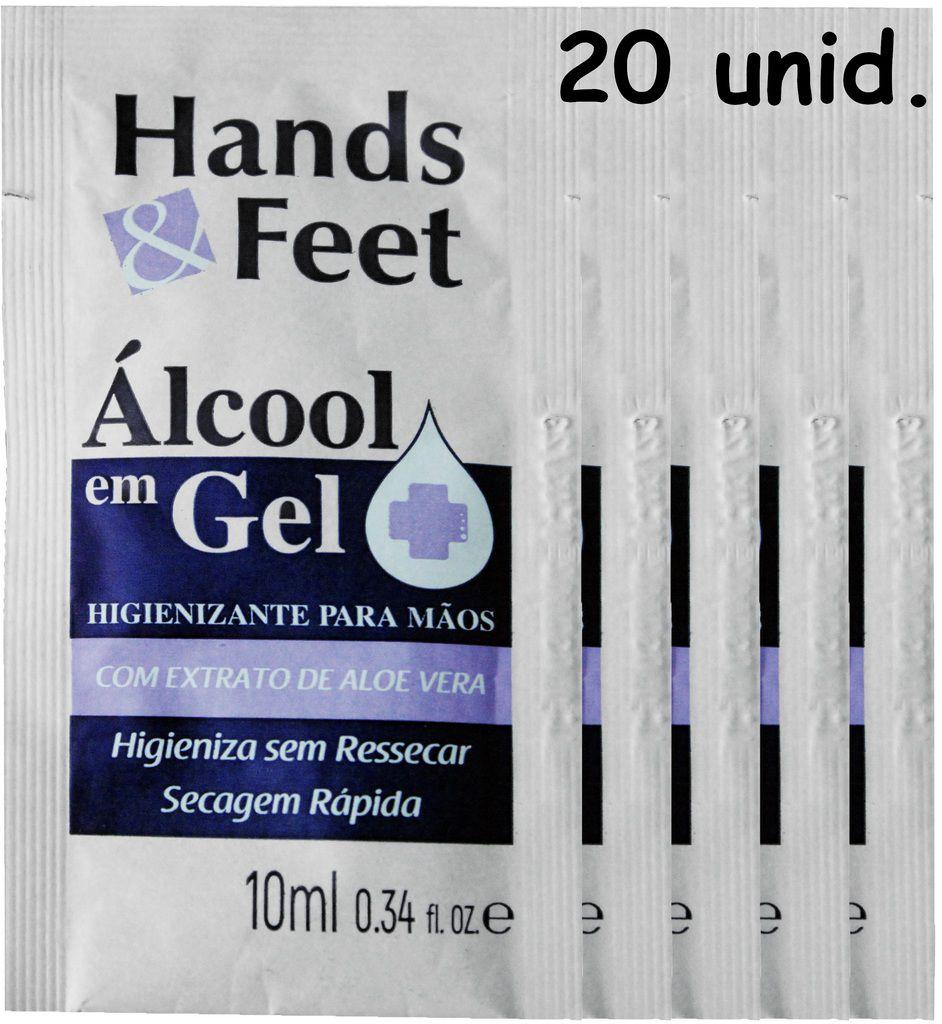 Álcool Gel 70% Antisséptico Sachê 20 unidades 10ml Secagem Rápida Bactericida Para Mãos Hidratante Higienizador Prevenção Hands & Feet