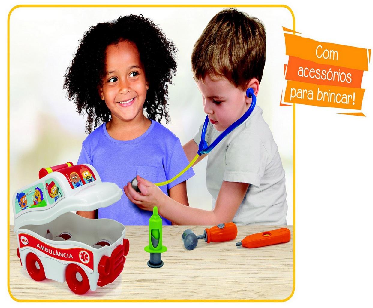 Ambulância S.O.S Resgate Infantil Menino Menina Brinquedo + Acessórios Socorrista Bolhas De Sabão Para Brincar Lançamento Elka