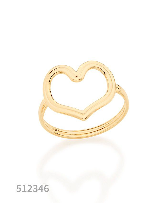Anel Coração Feminino Aro Duplo F. Ouro Rommanel  512346