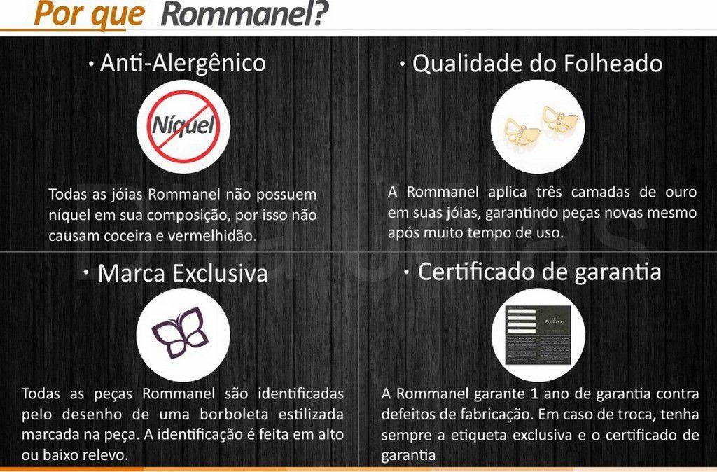 Anel Quadrado Vazado Rhodium Folheado Ouro Rommanel 510002