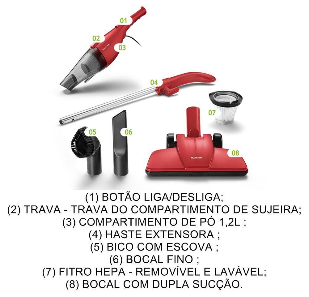 Aspirador De Pó 2 Em 1 Vermelho Multilaser 127v 220v
