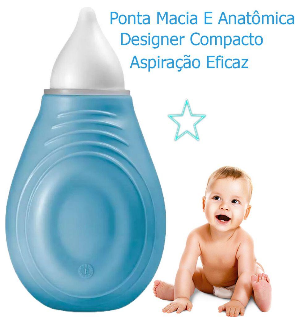 Aspirador Nasal Azul Sugador Catarro Bebe Criança Infantil silicone Litlle Nose BB245 Multikids