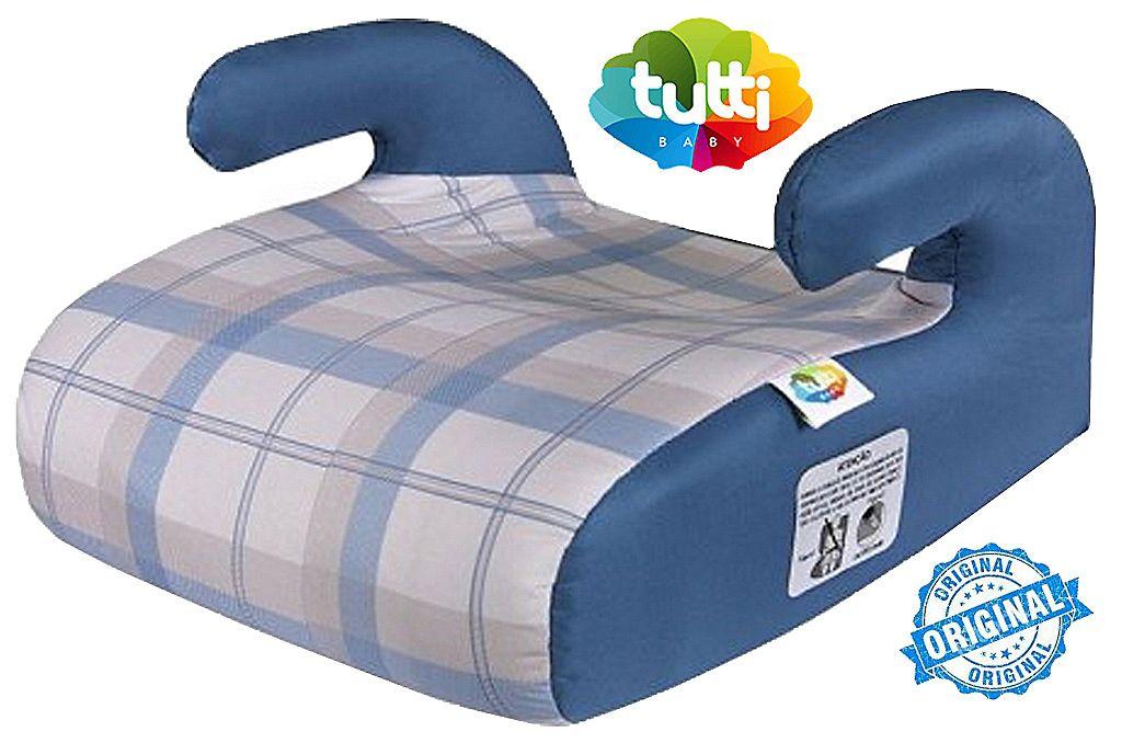 Assento Elevação Infantil Menino 15 A 36 Kg Safety & Comfort Xadrez Jeans Azul Tutti Baby Original