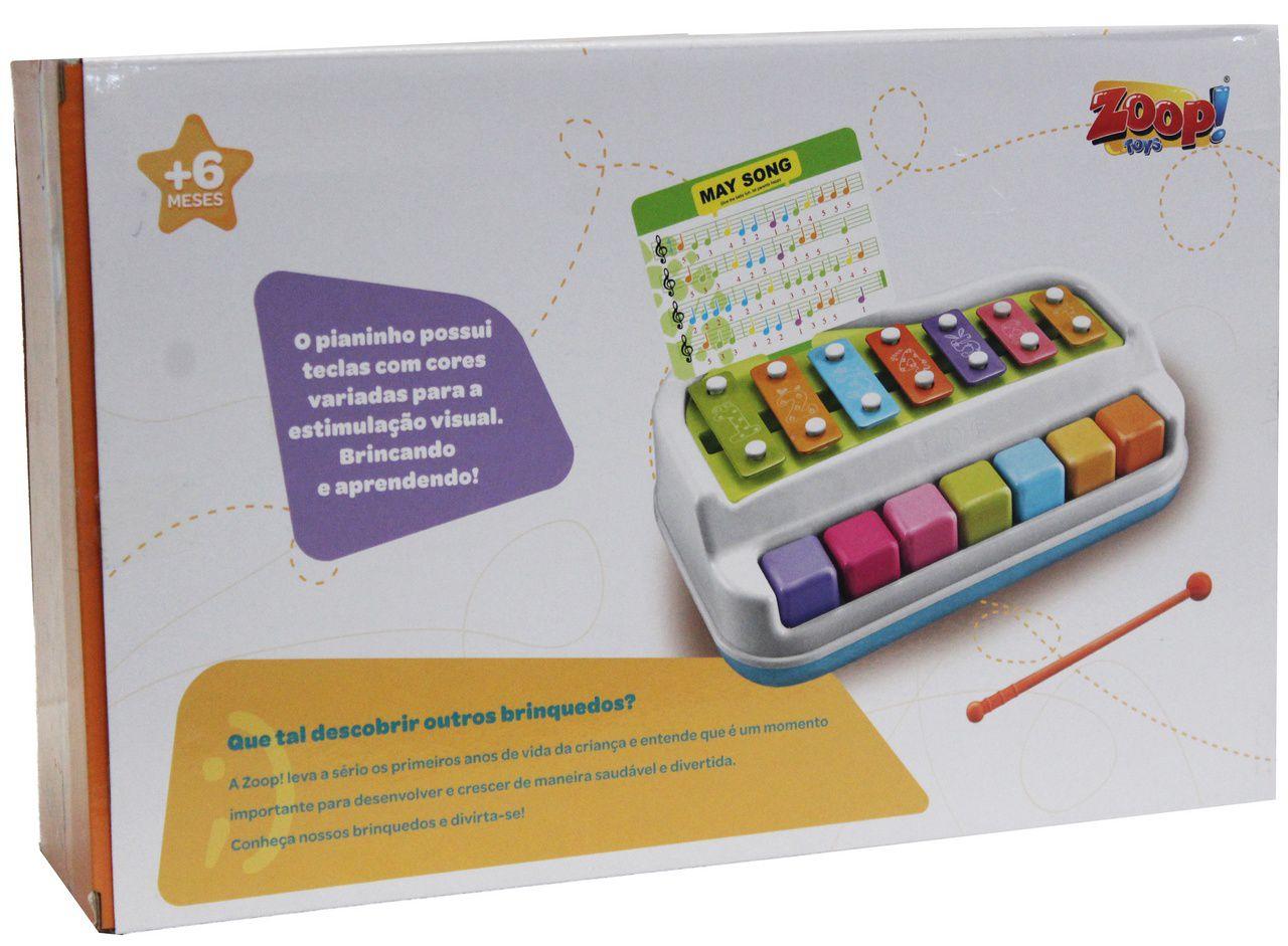 Baby Xilofone Infantil Musical  Notas Educativo Baquetinha Menino Menina Modelo ZP00526 Certificado Pelo Inmetro Colorido Didático Original Zoop Toys