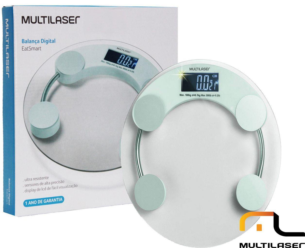 Balança Digital Eatsmart Lcd Original Multilaser Alta Precisão Vidro Temperado Desligamento Automático