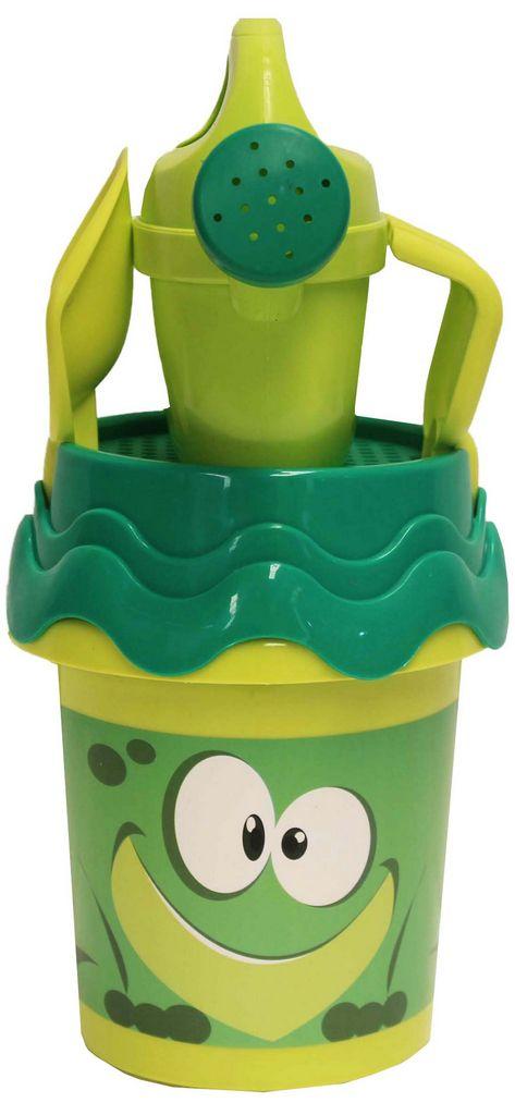 Balde Praia Brinquedo Infantil Criança Verde Amarelo Azul Pá Rastelo Peneira Gatinho Sapinho Cachorrinho Regador Original Gulliver Activity