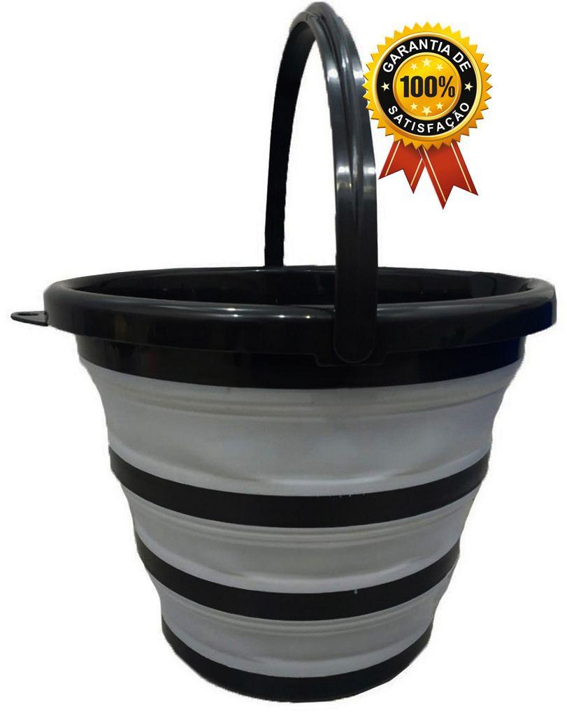 Balde Retrátil 10 Litros Dobrável Silicone Sanfona Cinza Flexível Com Alça Resistente Prático Cinza Preto Limpeza Perfect Original