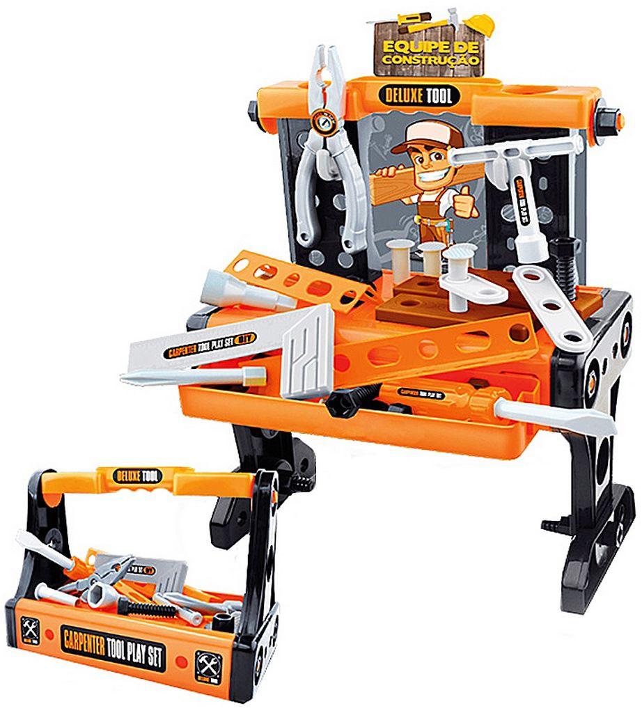 Bancada De Ferramentas 2 Em 1 Equipe De Construção Infantil Menino Maleta Resistente + 3 Anos Coral Zoop Toys Original