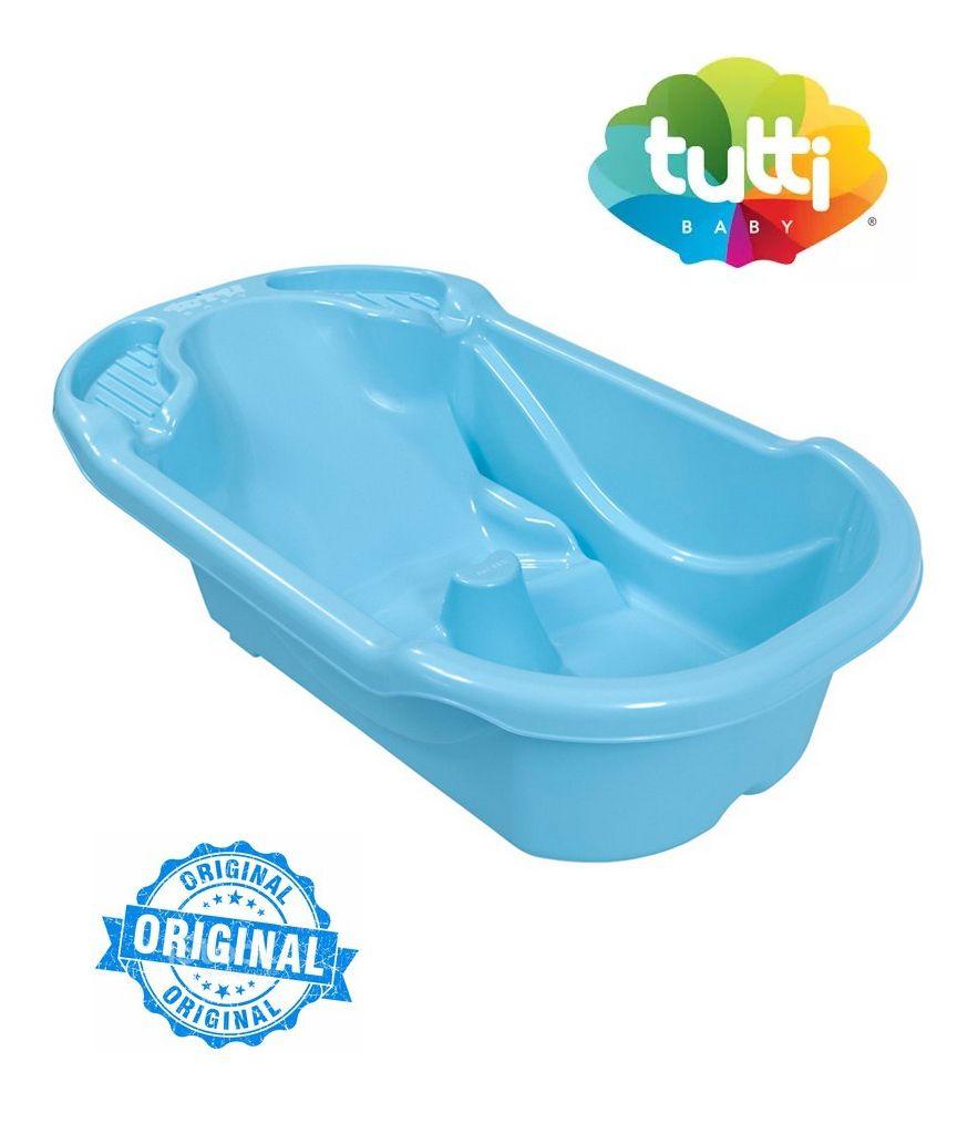 Banheira Bebê Azul Menino Ergonômica Safety e Comfort Tutti Baby